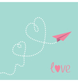 Origami paper plane Two dash heart in the sky Love vector image