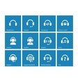 Headphone icons on blue background vector image