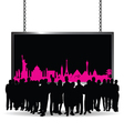 people silhouette front of famous monument vector image vector image