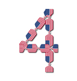 Number 4 made of USA flags in form of candies vector image vector image