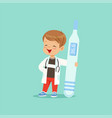 cartoon baby boy character in white coat and vector image