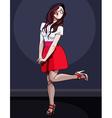 Cartoon cute girl posing on one leg vector image