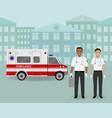 paramedics ambulance team and ambulance car on vector image