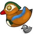 Retro handmade soft toy male wood duck vector image