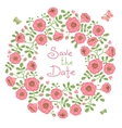 Save The Date Invitation with Floral Wreath vector image