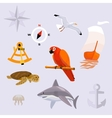 set of tropic sea travel icons vector image