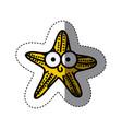 yellow happy star cartoon icon vector image