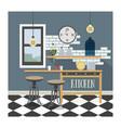 Modern kitchen interior in loft style vector image