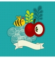 Bee and apple vector image