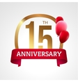 Celebrating 15th years anniversary golden label vector image
