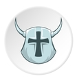 Combat helmet with cross and horns icon vector image