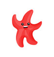 cute funny red cartoon starfish character vector image