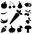 Fruits and Vegetables signs set Flat icons vector image