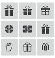 black gift icons set vector image