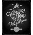 valentines day chalkboard menu background vector image vector image