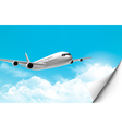 Travel background with an airplane and a bent vector image vector image