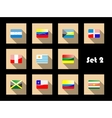International country flags set on flat icons vector image vector image