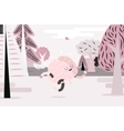 Brain running in the forest white and pink vector image