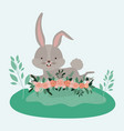 easter landscape scene with bunny and easter eggs vector image