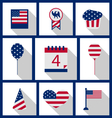 Icons Set USA Flag Color Independence Day 4th of vector image