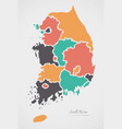 south korea map with states and modern round vector image