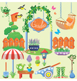 Spring and summer village and garden set with flow vector image
