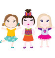 three little smiling girls vector image