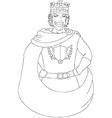 Young King With Crown Coloring Page vector image