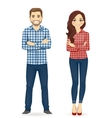 Young people in casual clothes vector image