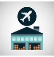 warehouse building airplane transport vector image