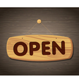 Open Wooden Sign Background vector image