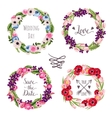 Wedding collection wreaths with hand-drawn flowers vector image vector image