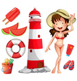 Woman in bikini and other beach things vector image vector image