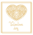 Outline golden heart shape with copy space vector image