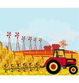 farmer plows the field vector image