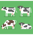 flat style set of cow Isolated on green background vector image