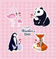 happy mothers day animals cartoon vector image