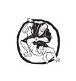 samurai jiu jitsu judo fighting drawing vector image