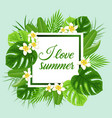 summer frame with green leaves vector image