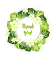 thank you circle frame of green leaves with white vector image