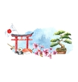 Watercolor set of Japan vector image