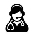 woman doctor icon with online consultation and vector image