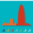 Flat design Barcelona skyline vector image