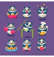 Cute Panda Emoji Collection With Humanized Cartoon vector image