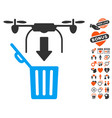 drone drop trash icon with lovely bonus vector image