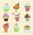 collection of hand drawn cupcakes vector image