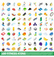 100 fitness icons set isometric 3d style vector image