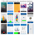 Smartphone UI flat style complete designer layout vector image