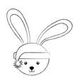 christmas rabbit face cartoon vector image
