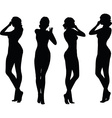 woman silhouette with hand gesture holding nose vector image